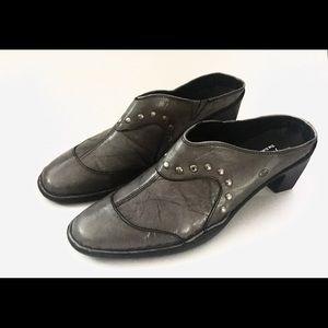 JOSEF SEIBEL Kimberly Grey Leather Studded Mules